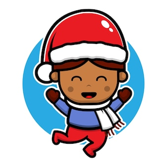 Милый мальчик прыгает в шляпе санта клауса мультяшный вектор рождественская иллюстрация концепции