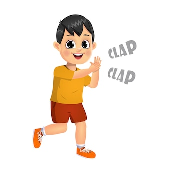 Cute boy kid clapping