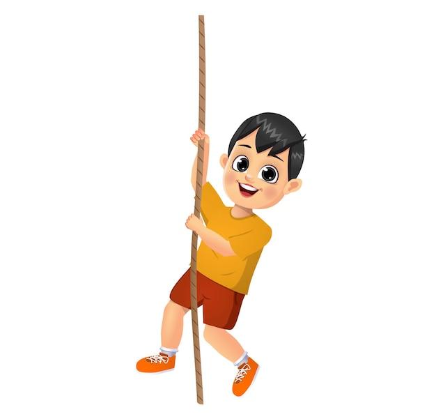 ロープに登るかわいい男の子の子供