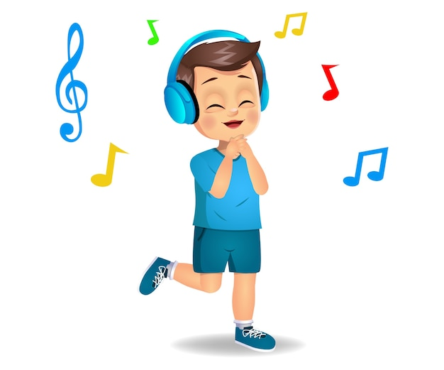 Милый мальчик ребенок слушает музыку