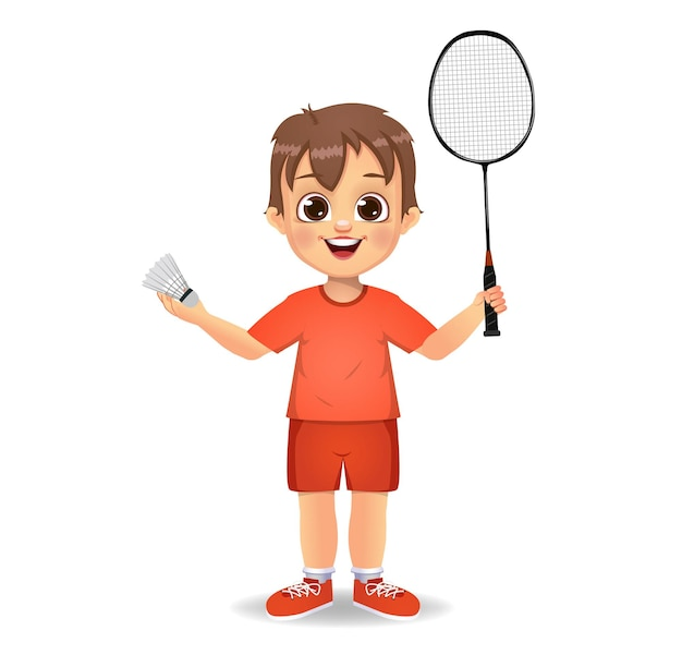 Cute boy kid playing badminton