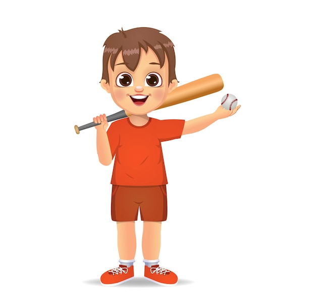 Cute boy kid playing baseball
