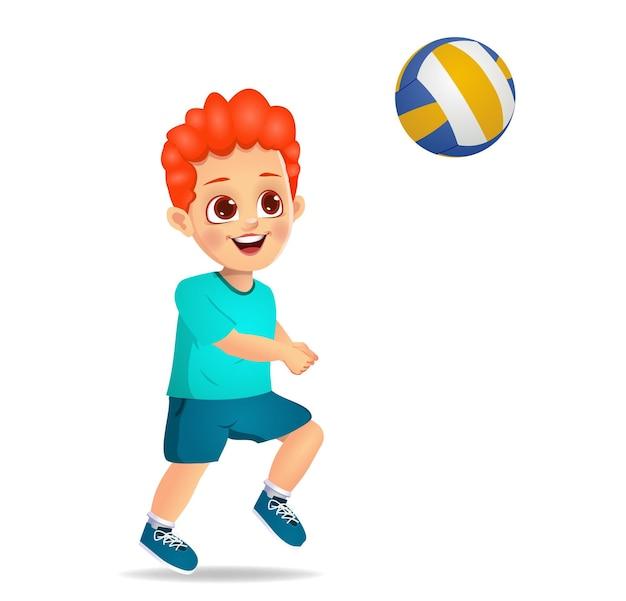バレーボールをしているかわいい男の子の子供