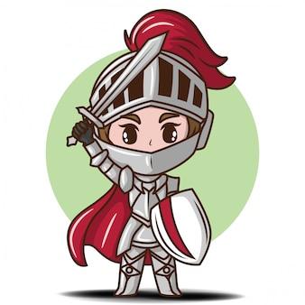 Cute boy in knight costume cartoon