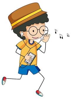 孤立した音楽落書き漫画のキャラクターを聞いているかわいい男の子