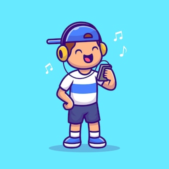 Cute boy listening music with headphone cartoon illustration. people technology icon concept