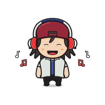 Cute boy listening music with headphones cartoon icon illustration. design isolated flat cartoon style