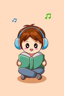ノートパソコンの漫画イラストで音楽を聞いているかわいい男の子