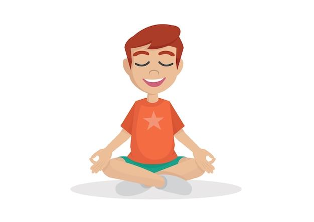 Cute boy meditate.