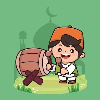 かわいい男の子のイスラム教徒のラマダン漫画のキャラクターイラスト Premiumベクター