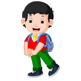학교에가는 길에 귀여운 소년