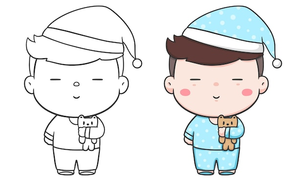 Cute boy in pajamas hand draw and coloring