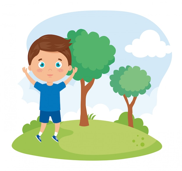 Cute boy in the park nature vector illustration design