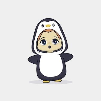 Cute boy in penguin costume illustration