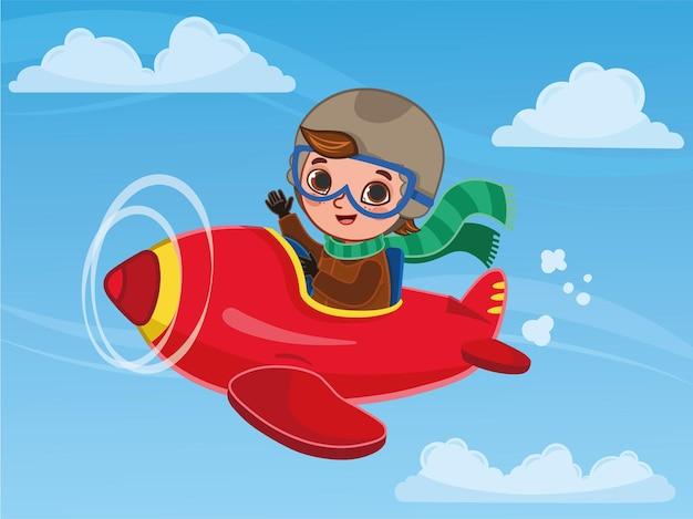 Cute boy pilot flies on a red plane cartoon vector illustration