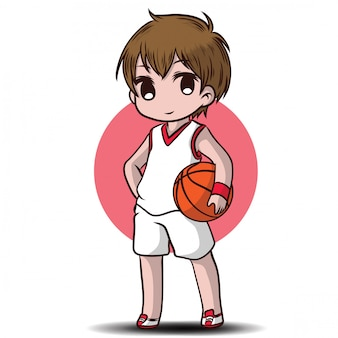 Cute boy play basketball cartoon character.