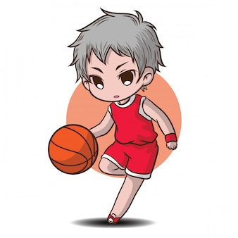 Cute boy play basketball cartoon