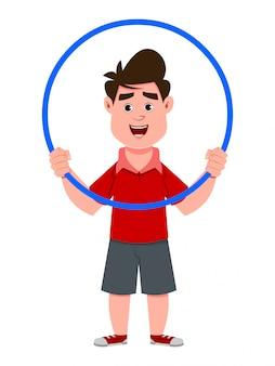 Cute boy play hula hoop