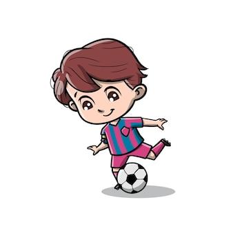 Cute boy playing football cartoon