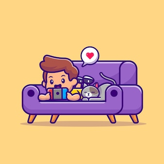 Cute boy playing game with cat cartoon illustration. people technology icon concept