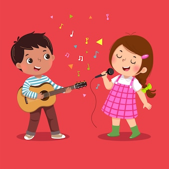 Cute boy playing guitar and little girl singing