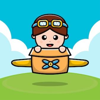 Cute boy playing toy plane cardboard