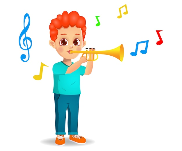 Cute boy playing trumpet isolated on white