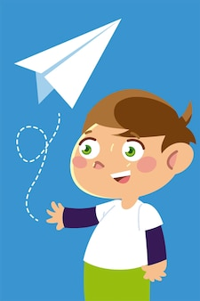Cute boy playing with paper plane cartoon, children  illustration