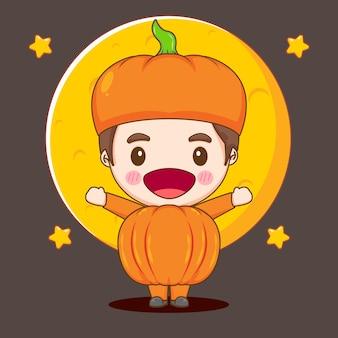 Cute boy in pumpkin costume chibi character illustration