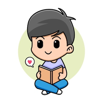 귀여운 소년 책 만화 일러스트를 읽고