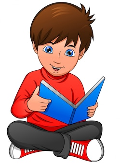 Cute boy reading book