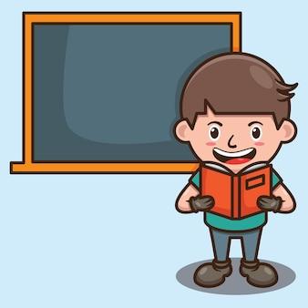 Cute boy reading in classroom pointing to chalkboard cartoon design