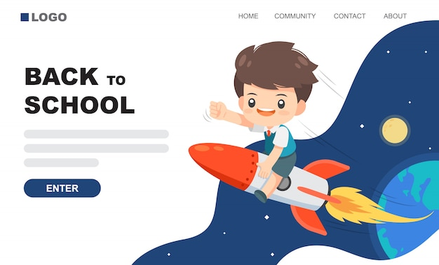 Cute boy ride on the rocket landing page