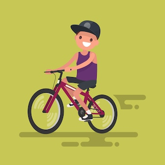 Cute boy riding a bicycle illustration