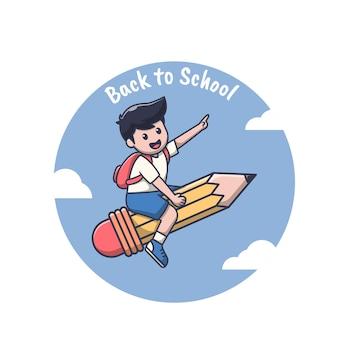 Cute boy riding a pencil.