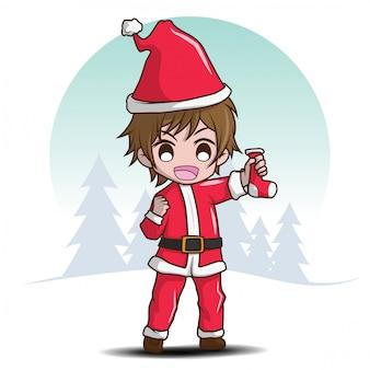 Cute boy on santa costume., cartoon character.