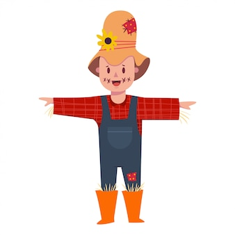 Cute boy in scarecrow costume