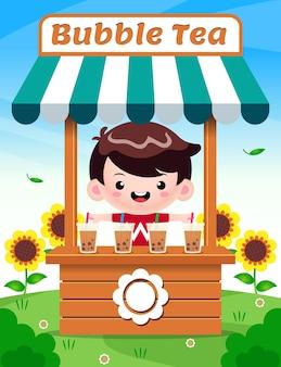 Милый мальчик продает пузырьковый чай