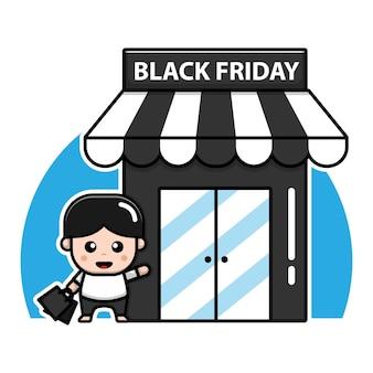 Cute boy shopping cartoon vector black friday concept illustration