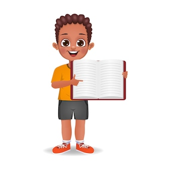 Cute boy showing index finger to blank book