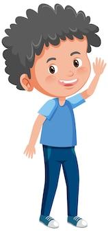 흰색 배경에 고립 된 서 포즈 만화 캐릭터에 귀여운 소년 미소