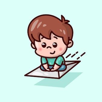 Симпатичный мальчик, улыбающийся, сидя на большом летящем письме