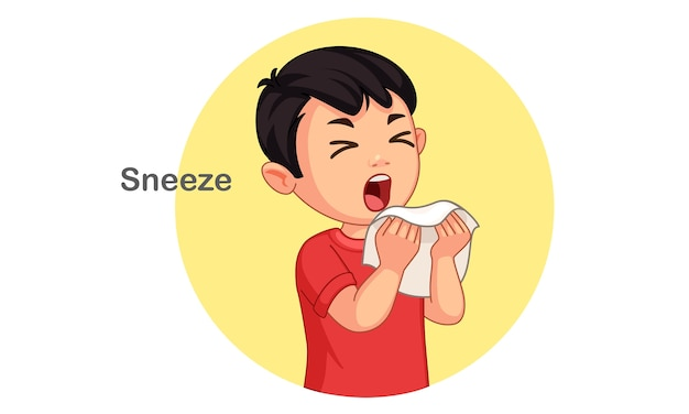 Cute boy sneezing vector illustration