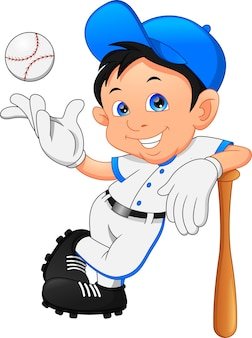 귀여운 소년 소프트볼 선수 포즈