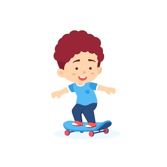 Cute boy stand on skateboard