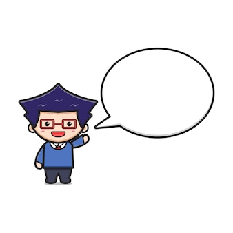 Cute boy student with bubble text cartoon icon vector illustration. design isolated on white flat cartoon style.