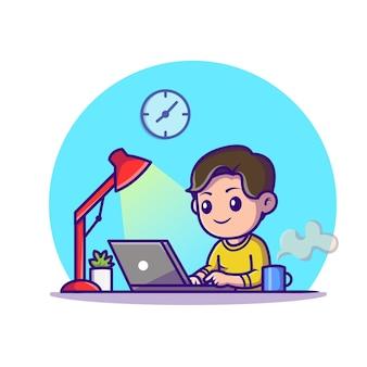 Милый мальчик исследование с ноутбуком мультфильм значок иллюстрации. концепция значок технологии образования изолированы. плоский мультяшном стиле