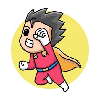 Милый мальчик супергерой иллюстрации шаржа