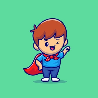 Cute boy superhero on green