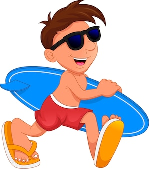 Cute boy surfer holding surfing board